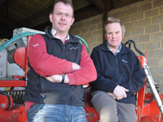 Mark Woodin and Roger Seed receiving split-level subsoiler Tiller Roll Combination